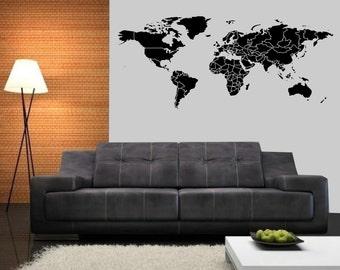 Allstickers decal etsy large detailed countries border world map wall decal 84 in weidth x 3525 in height sciox Choice Image