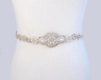 Crystal Rhinestone Wedding Dress Sash, Satin Ribbon Bridal Belt, Silver Clear Rhinestones, Jeweled Beaded Pearl Sash, 35 Satin Color Choices