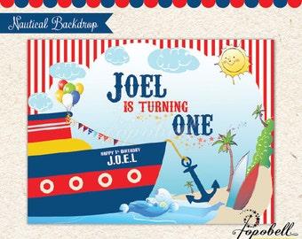 "Nautical Backdrop for Nautical Birthday Party. DIY Nautical Printables. Personalized Nautical Backdrop. Large Size Printable: 80 x 60"""