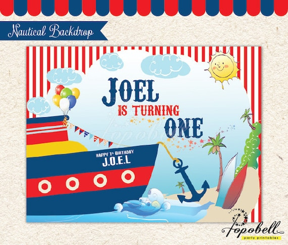 Nautical Backdrop For Nautical Birthday Party. DIGITAL File