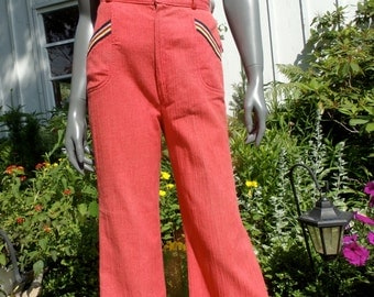 Vintage 70s Pants bell bottoms  high waist pants wide leg trousers orange 1970s PANTS hippie boho xsmall small bell bottoms
