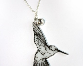 HUMMINGBIRD NECKLACE with silver bell