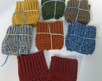 Boot Cuffs - Fall Colors -You choose color, Crocheted Boot Cuffs, Short Leg Warmers, Boot Toppers,