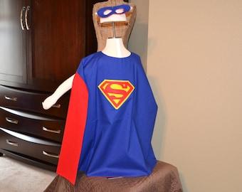 Childs Superman Superhero Cape and Mask