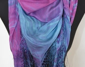 silk shawl or scarf, hand dyed, one of a kind, shibori, purple and blue