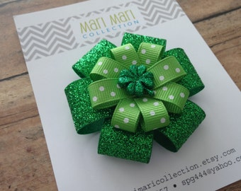 St. Patrick's Day Hair Bow - Green Glitter Polka Dot Shamrock Hair Clip - St. Patty's Hair Accessory - Shamrock Hair Bow - Shamrock Hair Bow