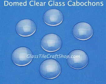 20pk 10mm Clear Cabochons - Round Domed Cabs for Ring Blanks, Pendants, Earrings, Doll Eyes. (10MDCAB)