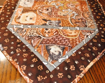 Table Runner Quilted with Dogs in Baskets