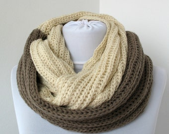 CLEARANCE SALE - Cream taupe Brown Knit Scarf - Infinity Scarf - Loop Scarf - Soft Circle Scarf     819