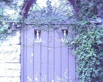 """Door Photography, Old Door Print, Rustic Purple Door, Architecture, Shabby Cottage Art, St Augustine Art, Garden Art-""""Lavender Cottage"""""""