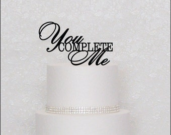 You Complete Me Monogram Wedding Cake Topper in Black, Gold, or Silver