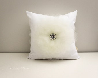 White Pillow Cover White Cushion Cover 16 X 16 Shabby Chic Style Flower Pillow Case Ivory Flower on White Pillow Cover