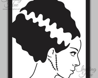 Bride of Frankenstein Greeting Card - Cut Out Design - Notecard and ...
