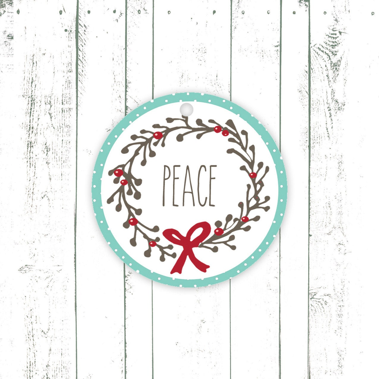 Holiday Gift Tags, Christmas Tags in Red and Aqua, Peace, Joy, Wreath with Holly Berries