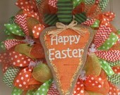 Last One - Made to Order - Happy Easter Burlap Carrot Mesh Wreath