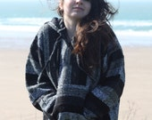 Grey Baja Hoodie, Surf, Hippie, Pixie hood