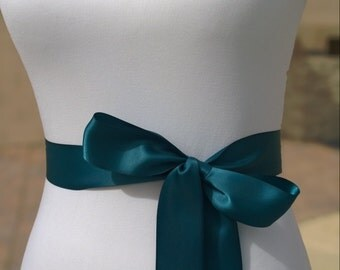 Teal Sash- 1.5 Inch Simple Satin Sash- Wedding Belt- Bridal Sash - Flower Girl Sash-Ready to Ship