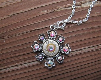 Bullet Jewelry - Bullet Necklace with AB Crystal Accents - Small Thin Cut - Classic - 45 Auto Bullet Necklace - 2nd amendment jewelry