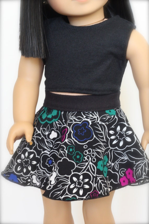 Black CROP TANK TOP for 18 Inch American Girl Doll
