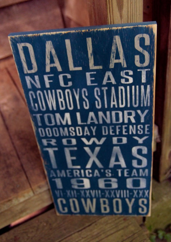 Dallas Cowboys Distressed Wood Sign--Great Father's Day Gift!