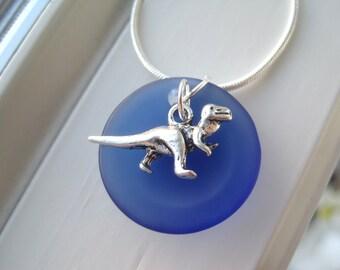 Dinosaur Necklace - TRex Necklace - Dinosaur Jewelry - Cobalt Blue Glass - Sea Glass Jewelry - Recycled Glass Necklace - Dino Necklace