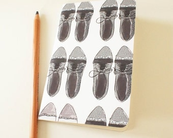 Mini journal covered with Lace up Shoes paper