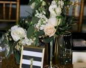 Black & Gold Framed Table Numbers // Hollywood Glam Table Numbers // Glitter Wedding Table Numbers