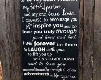 Wedding Vows Anniversary Gift Wood Sign 12 X 20 Marriage Custom Personalize First 5th Fifth