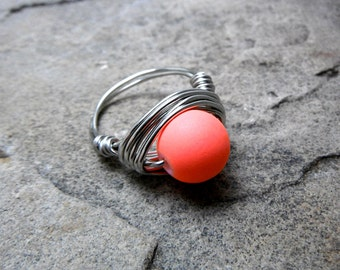Chunky Neon Orange Ring, Wire Wrapped Ring, Neon Ring, Bright Orange Ring, Orange Bead Ring, Wire Wrapped Jewelry Handmade, Chunky Ring