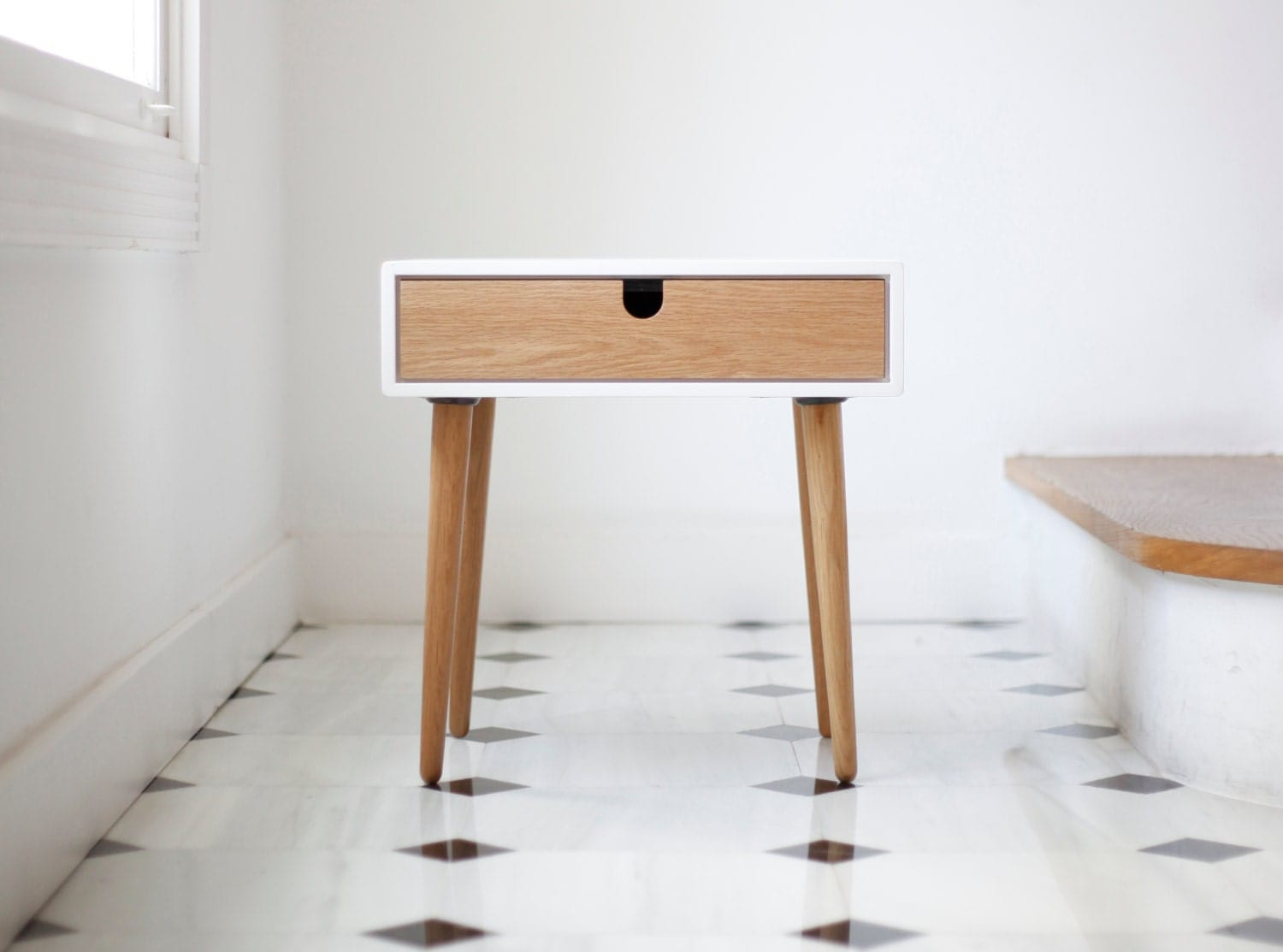 White nightstand bedside table scandinavian mid century - Table de chevet wenge ...