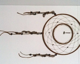 Dark brown double ring large dream catcher native american for How to make a double ring dreamcatcher