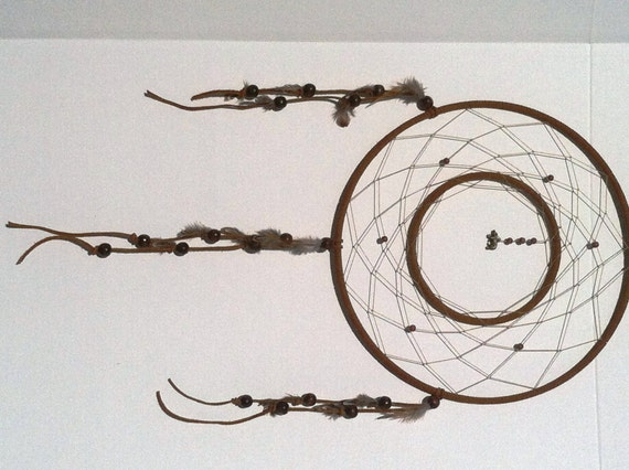 Dark brown double ring large dream catcher by for How to make a double ring dreamcatcher