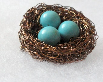 Birds nest brooch,Nest brooch , nature jewelry, birds nest jewelry, turquoise birds nest, nest jewelry, turquoise brooch