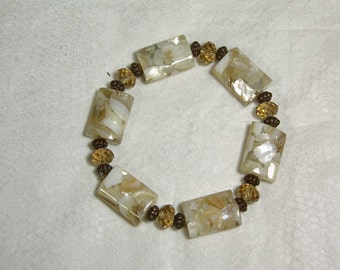 "Cynthia Lynn ""TIMELESS"" Vintage Bronze Mother of Pearl Golden Crystal Stretch  Bracelet 7.5"""