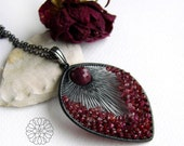 Raspberries pendant - beautiful, one-of-a-kind ruby necklace, oxidised silver, warm colors, OOAK - FREE SHIPPING worldwide!!! - AlabamaStudio