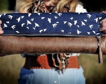 Florence - Large Adjustable Cross Body Bag | Clutch Purse | Navy Blue Swallow Designer Fabric | Brown Leather | Zipped Messenger Bag