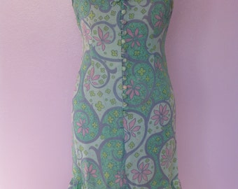 Original Vintage 60s Floral Mini Dress UK8/10 by Susan Small Spring Summer Mod Made in England