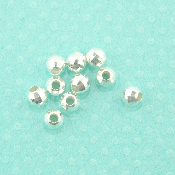 sterling silver bead - 10pcs - 6mm faceted ball spacer bead - sterling silver disco ball bead - silver spacer bead - multi faceted bead