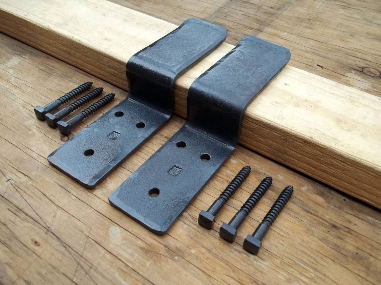 Wrought Iron Drop Bar Security Door Brackets One Pair