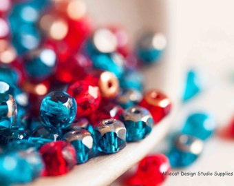 25 Aqua Red Mix 3x5mm Faceted Rondell Czech Glass Beads (SB021)