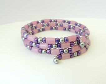Pink Purple Grey Memory Wire Bracelet, Memory Wire Bracelets, Wrap Bracelet, Jewelry, Accessories, Gift Idea, Beaded Bracelet. Item 161