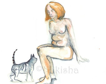Blond With Cat - Original Watercolor Nude Painting - Mature