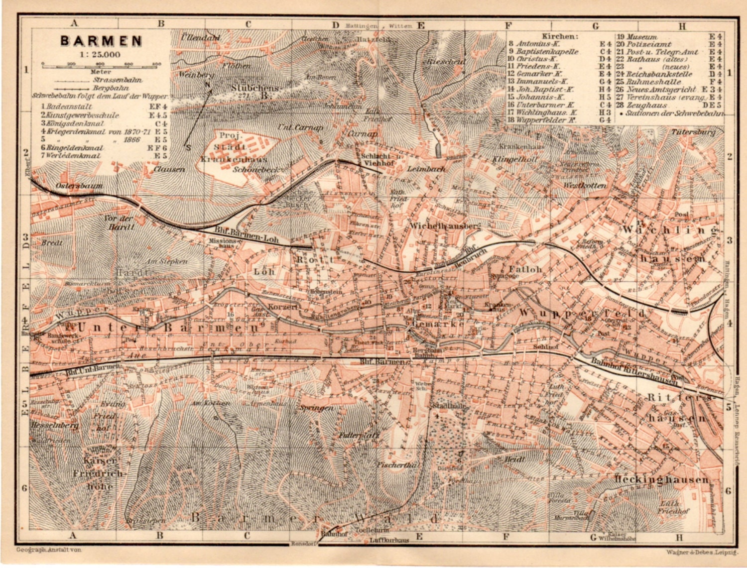 1909 barmen germany antique map wuppertal deutschland. Black Bedroom Furniture Sets. Home Design Ideas