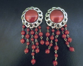 Red 22mm (7/8) Gold Bead Dangle Plugs for Stretched Lobes