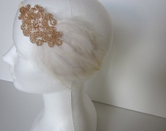 Wedding headband bridal headpiece Great Gatsby 1920s Wedding Headband Cream Ivory Feather Fascinator on Cream IvoryRibbon