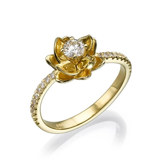 flower yellow gold engagement ring 14k ring floral ring
