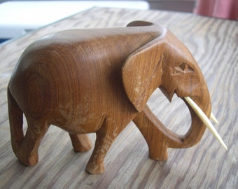 SALE --- a Brown Wood Elephant --- Reduced