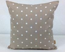26x26 euro sham, pillow, Throw Pillow Cover, Decorative Throw Cover, taupe, White, Polka Dot,Throw pillow cover,26 inch,Pillow Case,Handmade