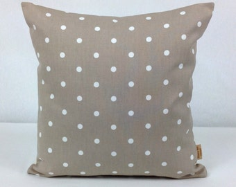 16x16, pillow, Throw Pillow Cover, Decorative Throw Cover, taupe, White, Polka Dot ,Spots,Throw pillow cover, 16 inch, Pillow Case, Handmade