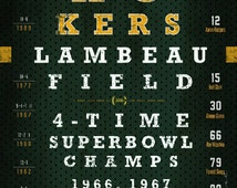 Green Bay Packers Eye Chart - Super Bowl Seasons - Wedding, Graduation, Birthday, Anniversary or Christmas Gift - Unframed Print